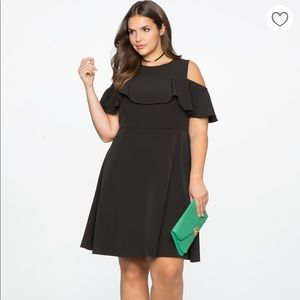 Eloquii size Black Cold Shoulder Ruffle Dress